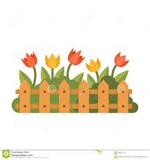 Beautiful Garden With Different Flowers Behind The Fence Flat Style Vector Illustration Stock Illustration Illustration Of Board Floral 89930778