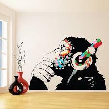 Banksy Thinking Monkey Sticker Art Vinyl Street Dj Baksy Wall Decal Auriculares Chimp Music Thinker Graffiti Mural Boy Smart Calcomanias Graffiti Murals Sticker Art Graffiti Wall