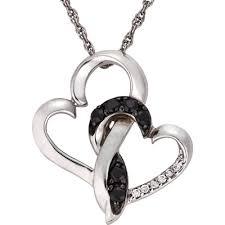double heart pendant in 14k white gold