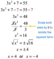 solving quadratic equations by square