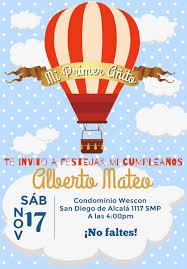 Invitacion De Globo Aerostatico Invitacion De Globo Fiestas De