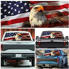 Amazon Com Elliot Jonah American Usa Flag Eagle Pick Up Truck Back Window Graphic Decal Sticker Perforated Vinyl 54 X 14 Arts Crafts Sewing