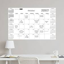 Wpe3688 White Academic 2020 2021 Dry Erase Calendar Decal By Wallpops