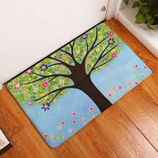 Big Trees And Flower Printed Flannel Floor Mats For Kids Room Bedroom Home Decor