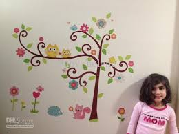 Wholesale Owls Flower Tree Removable Wall Sticker Decal Baby Nursery Wall Decor Kids Room Zy1001 Nursery Framed Wall Art Monkey Wall Stickers For Nursery From Baby Helene 6 47 Dhgate Com
