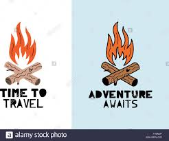 Cute Vector Bonfire With Phrase Travel And Adventure Illustration Cut Out From Actual Paper Scrapbook Element Art Poster For Nursery Or Kids Room Stock Vector Image Art Alamy