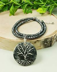 matte black tree of life pendant silver