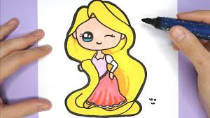 draw and color cute princess rapunzel