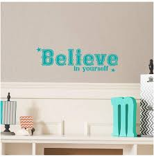 Amazon Com Believe In Yourself Vinyl Lettering Wall Decal Sticker 6 5 W X 21 L Turquoise Home Kitchen