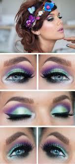 green purple eye makeup cat eye makeup