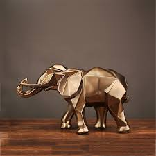 resin gold elephant figurine statue