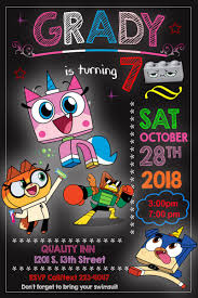 Unikitty Birthday Invitation Fiesta De Cumpleanos Lego