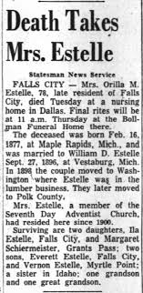 Orilla Myrtle Graham Estelle obituray - Newspapers.com