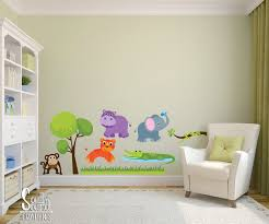 Fabric Wall Decal Set For Nursery And Kids Rooms Zoo Animals Room Wall Decor Boy Or Childrens Jungle Bedrooms Kids Bedroom Inspiration Jungle Bedroom Decor