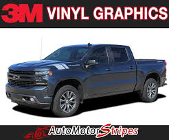 2019 2020 Chevy Silverado Fender Stripes Hood Decals 1500 Hash Marks Graphics Auto Motor Stripes Decals Vinyl Graphics And 3m Striping Kits