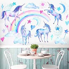 Amazon Com Unicorn Wall Decals Unicorn Wall Sticker Decor For Boys Girls Kids Bedroom Decor Nursery Room Home Decor Christmas Gift For Boy And Girl Kitchen Dining
