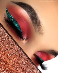 pink glitter makeup and blue eyeshadow image 6826533 on favim