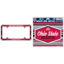 Ohio State Buckeyes Official Ncaa Plastic License Plate Frame And Automotive Car Decal 4 5x6 Bundle 2 Items Walmart Com Walmart Com