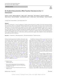 student characteristics affect teachers