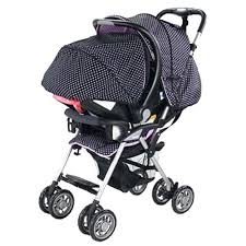 travel stroller orange and blue system