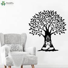 Yoyoyu Wall Decal Meditation Woman Tree Vinyl Wall Sticker Modern Yoga Studio Logo Decoration Art Mural Gift Indian Decor Ct721 Wall Stickers Aliexpress