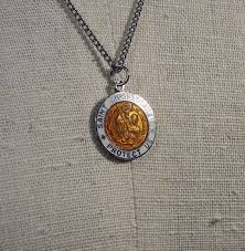 vintage st christopher necklace pendant
