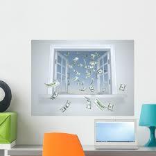 Dollars Falling Through Window Wall Decal By Wallmonkeys Peel And Stick Graphic 24 In W X 18 In H Wm276076 Walmart Com Walmart Com