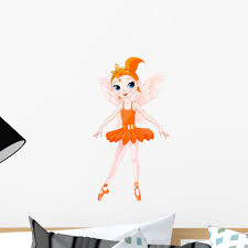 Rainbow Orange Fairy Ballerina Wall Decal Wallmonkeys Com