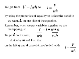 formula for indicated variable v lwh w