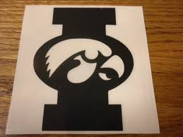 Iowa Hawkeye Vinyl Decal In Shape Of I With Tigerhawk Etsy