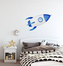 Spaceship Wall Decal Watercolor Outer Space Ship Wall Sticker Etsy