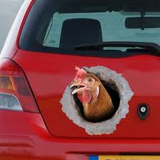 Chicken Car Decal Funny Chicken Car Decal Bullet Hole Etsy