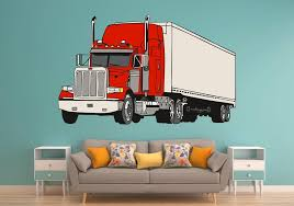 Big Rig Semi Tractor And Trailer 6 Colors Wall Art Decal Etsy