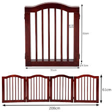 4 Panels Standard Height Folding Pet Gate Gog Child Safety Fence Free Standing Indoor Wood Pine Animals Pet Supplies