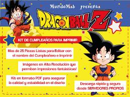 Dragon Ball Set De Cumpleanos Para Imprimir Con Imagenes