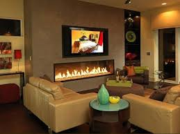 low profile wide fireplace with tv