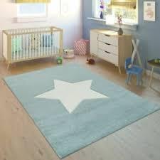 Kids Blue Rug Boys Playroom Carpet Star Design Baby Bedroom Soft Quality Xl Mats Ebay