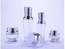 frosted glass cosmetic cream jar