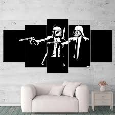 Star Wars Canvas Art Pulp Fiction Darth Vader Boba Fett 5 Piece