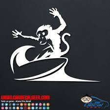 Surfing Monkey Car Window Vinyl Decal Sticker Surf Decals