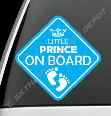 Little Prince On Board Bumper Sticker Vinyl Decal Baby Boy Etsy