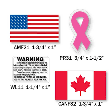 American Flag Warning Labels Ribbons Canadian Flag Decals Football