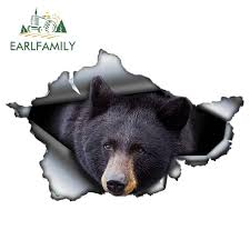 Earlfamily 13cm X 8 4cm Black Bear Car Sticker Torn Metal Decal Reflective Stickers Waterproof 3d Car Styling Animal Decals Car Stickers Aliexpress