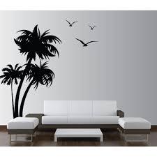 Innovative Stencils 1132 84 Mblack Palm Coconut Tree Nursery Wall Decal With Seagull Birds White Walmart Com Walmart Com