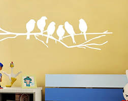 Bibitime Tree Branches Wall Decal Roosted 6 White Birds Vinyl Sticker For Children Bedroom Nursery Kids Room Decor Diy 15 X 4 Baby B06xt17m4s