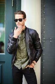 men s black leather jacket style
