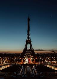 eiffel tower paris night city lights