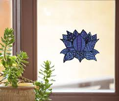 The Decal Store Com By Yadda Yadda Design Co Clr Wnd Patterned Zen Lotus Flower See Through Vinyl Window Decal