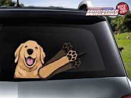 Bailey Golden Retriever Waving Dog Decal Wipertag For Rear Windshield Wiper Wipertags