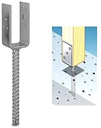 Galvanised Concrete In U Shaped Post Support Base Bracket For 50mm 2 Posts Amazon Co Uk Diy Tools